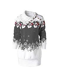 FarJing Christmas Dress, Womens Christmas Snowflake Plus Size Sweatshirt Dress