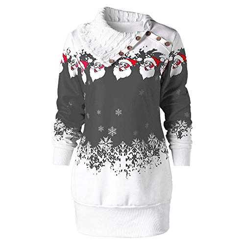 Tsmile Women Dress Plus Size Christmas Santa Claus Snowflake Print Tunic Casual Sweatshirt Mini Dress