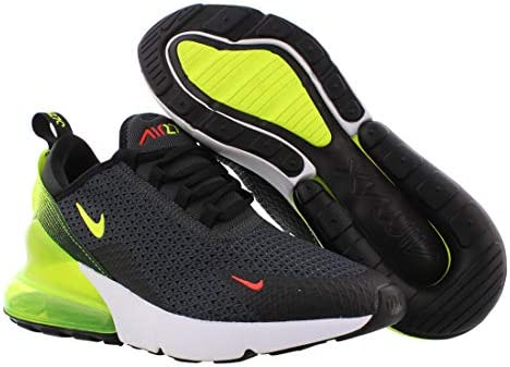 41L3cJVBIGL. AC Nike Mens Air Max 270 SE Running Shoes    Nike makes continuous effort to find the key to unlocking our potential and reveling the maximum effect of every step we take. The new Nike Air Max 270 Se (AQ9164-005) are here in a new all black colorway to help you achieve maximum effect with the most effortless flow. Drawing inspiration from the Air Max 180 from ?91, these pumped up kicks have taken to the new school and made a place for themselves in the Air Max lineage with a stand-out silhouette and bold colorways that make you feel refreshed and energized enough to take on the world. The stretchy zoned mesh was engineered to provide flexible structure for resilient dependable shoes that feel just as comfortable as they look. The asymmetrical lacing systems and neoprene bootie construction gives a snug locked down fit that is cohesive with a 3-piece midsole and heel counter combo for buttery smooth transitions between the heel and toe.
