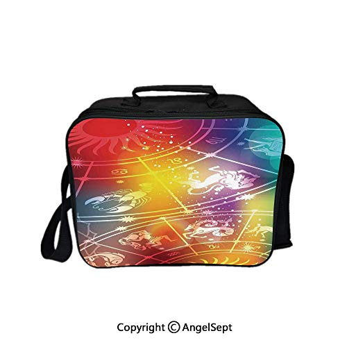 - Travel Picnic Lunch Box Wide Open Lunch,Colorful Mystic Horoscope Constellation with Birth Signs Planets Cosmos Decoration Decorative Multi 8.3inch,Lunch Bags For Unisex Adults