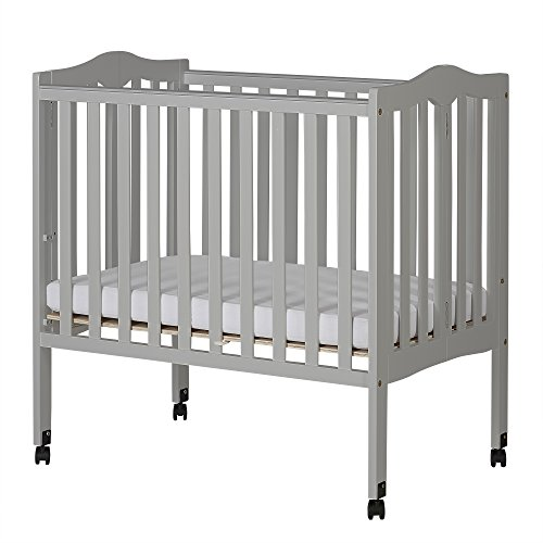 Best Price! Dream On Me 2 in 1 Lightweight Folding Portable Crib, Pebble Grey