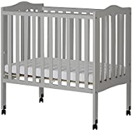 Dream On Me 2 In 1 Lightweight Folding Portable Crib, Pebble Grey