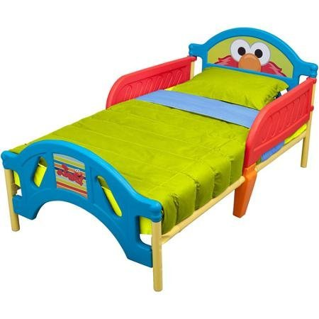 - Sesame Street Elmo Toddler Bed with Rails for Safety and Peace of Mind, Bright Colors by Sesame Street
