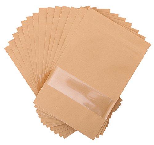 Katkitchen 100PCs Zip Lock Stand Up Kraft Paper Food Storage Bags Pouch with Window & Tear Notch, 8.7