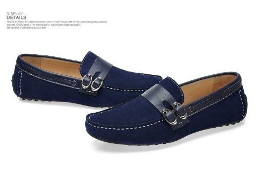 Happyshop (tm) New Mens Mocassini In Pelle Scarpe Casual Suede Comfort Slip-on Driving Shoes Eur Taglia 39-44 Deep Blue