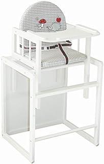 Kinderhochstuhl 2 in 1 Kombi Baby Hochstuhl Stuhl Tisch Holz Weiss ekmTRADE