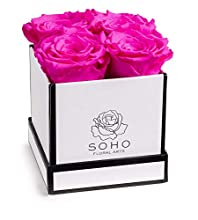 Soho Floral Arts | Roses in A Box | Real Roses Last A Year Or More (White Square 4ct, Radiant Pink)
