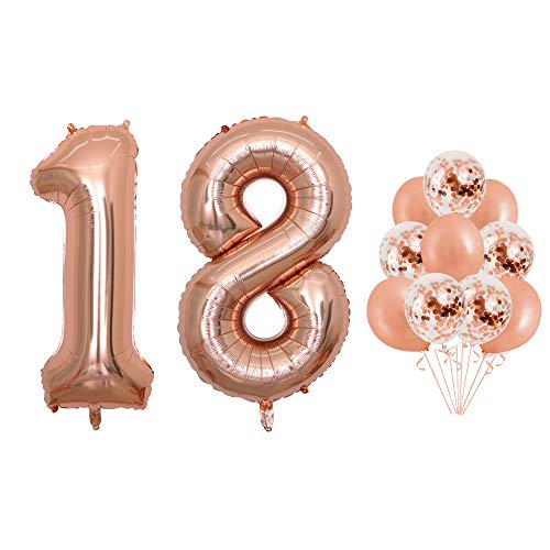 40 inch Jumbo Rose Gold Foil Balloons Confetti Balloons for Birthday Party Supplies Anniversary Events Decorations and Graduation Decorations (Confetti18)