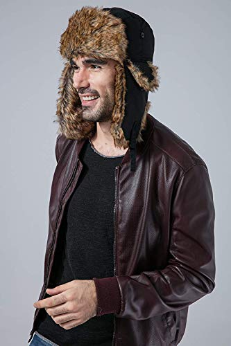 Tough Headwear Trapper Hat with Faux Fur   Ear Flaps - Ushanka Aviator  Russian Hat for 52bc11d8e75c