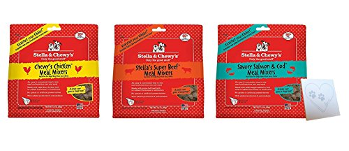 Stella & Chewys Freeze Dried Super Mixers Variety Pack (1) Chicken Mixer (1) Beef Mixer (1) Salmon Mixer (1) Pet Paws Heart Notepad (3.5oz each) by Stella & Chewy's