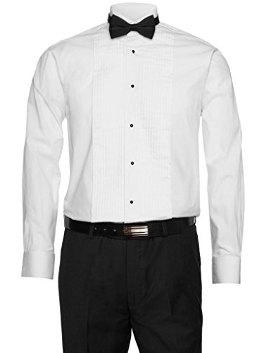 Gentlemens Collection Mens White Tuxedo Shirt 1/4 Inch Pleats with Bow Tie White 17 32/33