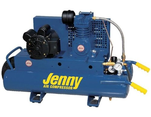 Jenny K2A-8P Single Stage Wheeled Portable Electric Motor Air Compressor with K Pump, 8 Gallon Tank, 1 Phase, 2 HP, 115V