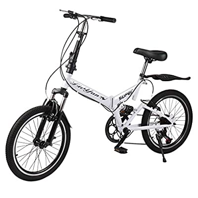 Simoner 20 Inches Folding Bike, Men's and Women's Bike, 6 Variable Speed Foldable Carbon Steel Bicycle, Double V Brake Bicycle Cycling- Ideal for Commuting or Camping