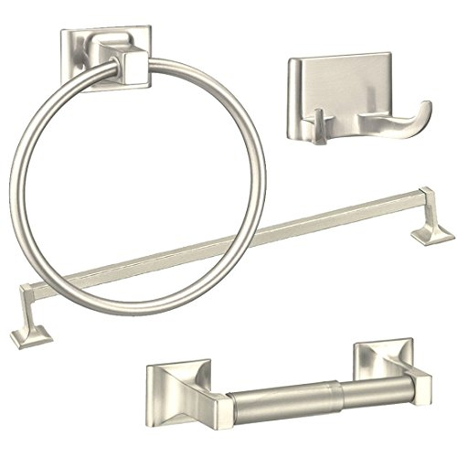 Bathroom Accessories-4 Piece Towel Bar Set Bath Accessories Bathroom Hardware - Brushed Nickel - French Bronze Finish 4 Bulbs