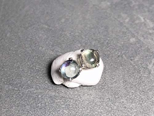 6mm Rainbow Fluorite and Sterling Silver Post Earrings