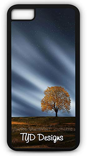iPhone 8 Case Fall Maple Tree Aurora Night Sky Full Moon Customizable TYD Designs in Black -