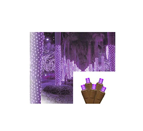 (2' x 8' Purple LED Net Style Tree Trunk Wrap Christmas Lights - Brown Wire)