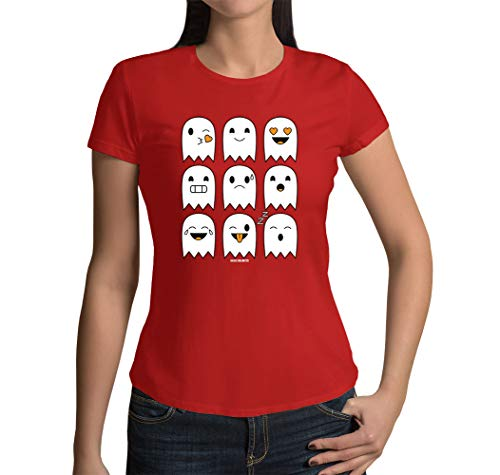 Junior's Halloween Ghost Icons T-Shirt (Red, Large) -