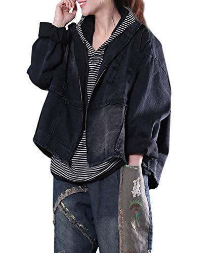 - YESNO WC7 Women Casual Denim Jacket Boyfriend Loose Full-Zip Jean Jacket Fringed Ripped Distressed/Pocket