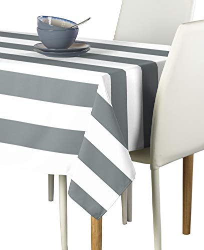 Gray & White Cabana Stripe Milliken Signature Tablecloths - Assorted Sizes (60