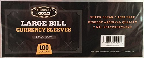 100 CBG Currency Sleeves Large Bill - Archival Quality Protection for Your Larger Currency