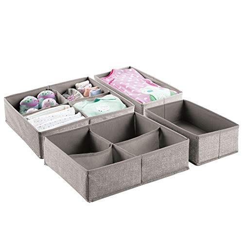 mDesign Soft Fabric Dresser Drawer and Closet Storage Organizer Set for Child/Kids Room, Nursery, Playroom - 4 Pieces, 10 Compartments - Textured Print, Set of 2 - Linen