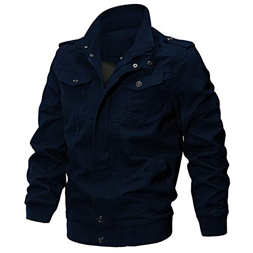 WEEN CHARM Men's Military Casual Jacket Cotton Windbreaker (Navy 2701, X-Large) (Casual Cotton Jackets)