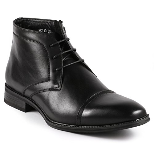 Metrocharm MC119 Men's Cap Toe Lace up Dress Chukka Ankle Boot (9.5 D(M) US, Black)
