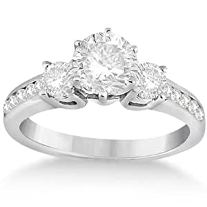 Three-Stone Diamond Engagement Ring w/ Sidestones Palladium (0.45ct)
