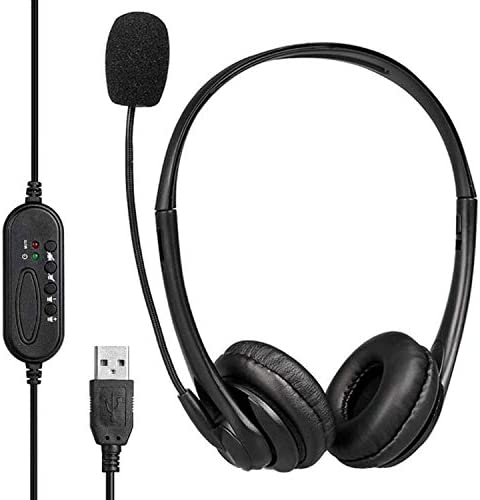 USB HeadsetMicrophone for PC Computer Laptop Zoom Skype Video Conference Calls Call Center Lightweight Headphonesmic Boom