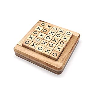 Wooden Board Games Tic Tac Toe in Pushing Me XO Fun Family Games to Play in Box Strategy Board Games for Families to Challenge Brain Games Kids and Adult with Classic Guest Room Decor