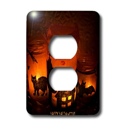 3dRose LSP_6025_6 Halloween Cat, House and Bat Luminaries 2 Plug Outlet Cover, Multicolor ()