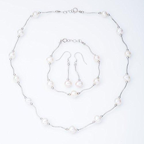 Ana Morales Parure de bijoux pour femmes avec perles en Aargent sterling 925+ véritable chaînecollier en argent véritable 925