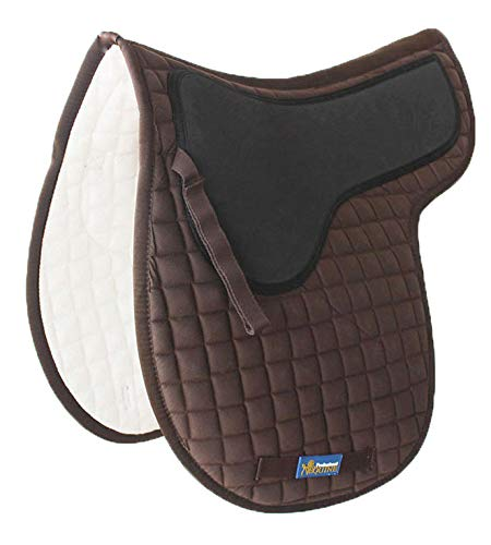 Tackus Horse Cotton Quilted Jumping English Saddle PAD Trail Contoured Gel Brown 72F46