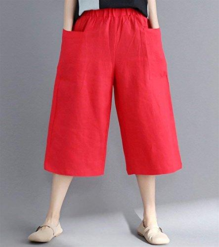 Con Elegante Forti Hipster Pantalone Tasche Estivi Libero Taglie Giovane Larghi Classiche Pantaloni Monocromo Sciolto Tempo Donna Unique Rot Moda Donne qrqEnaZz