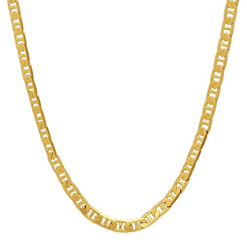 The Bling Factory 3.5mm 24K Gold Plated Mariner Link Chain Necklace, 16