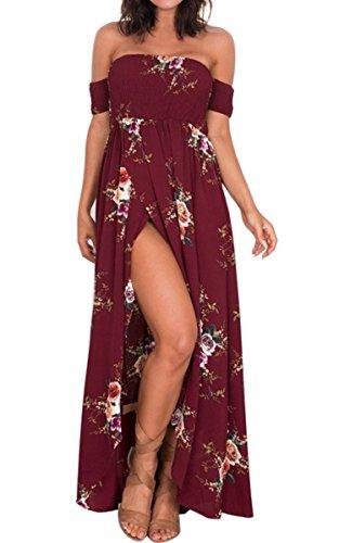 MIOIM® Damen Schulterfrei Kleid Dress Sommer Blumendruck Kurzarm Lose Casual Tops Mode Weinrot
