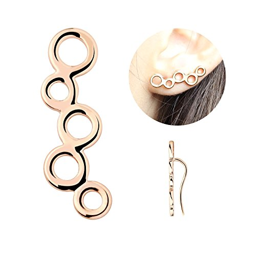 Last Minute School Girl Costume - Dainty Curved Ear Crawler Rose Gold Plated Earrings Circles Ear Climbers Vine Climber Birthday Gift for Women - ECC (Rose Gold)