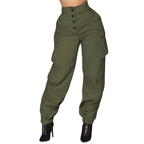 BOLAWOO Donna Pantaloni Cargo Fashion High Waist Sciolto Vintage Eleganti Tempo Libero Pantaloni Mode di marca Accogliente Colori Solidi Con Tasche Pantaloni Harem Jogging Pantaloni Armee-gr