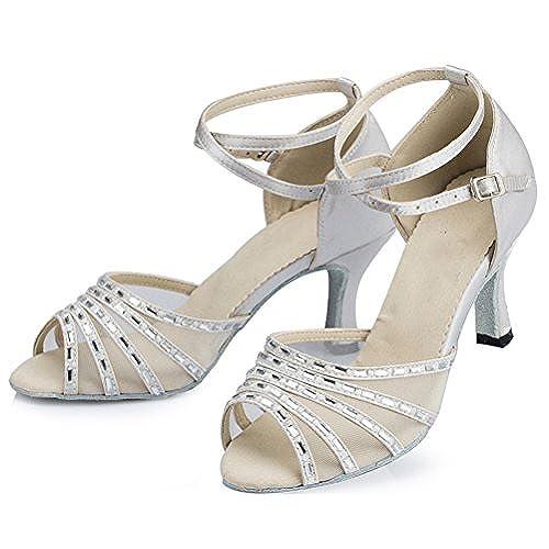 Abby Womens Latin Modern Tango Cha-cha Peep-Toe Satin Professional Dance-Shoes