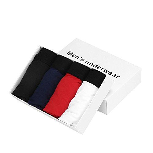 4pcs Men's Boxer Briefs, Mosunx(TM) Soft Bulge Pouch Trunks (L, Red + navy + white + black)