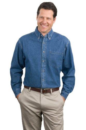 Port Authority Men's Heavyweight Denim Shirt M Dark Blue Stonewashed - Heavyweight Stonewashed Denim
