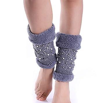 LLUFFY-Socks Calcetines Invierno Mujer Perla Moldeada Conjunto de perforación Caliente Punto cálido Rodilla Calentador Botas largas Conjunto, ...