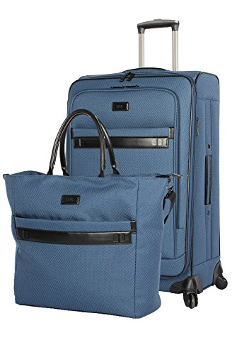 Nicole Miller New York Coralie Collection 2-Piece Luggage Set: 20'' Expandable Spinner and Tote Bag (Blue) by Nicole Miller New York
