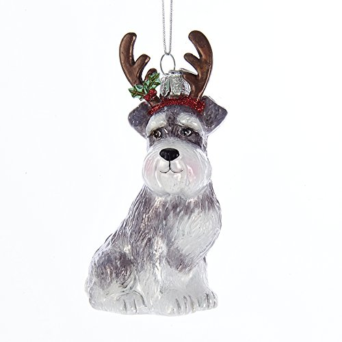 (Noble Gems Schnauzer with Antlers Glass Ornament)