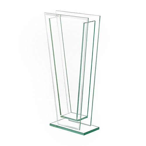 Royal Imports Flower Glass Vase Decorative Centerpiece for Home or Wedding Tall Tapered Clear Trim Plate Glass with Base, (5