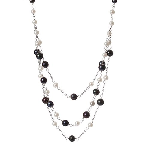 - Tin Cup Station Sterling Silver Chain Freshwater Cultured Pearl Black and White 3-Row Strands Bib Necklace for Women