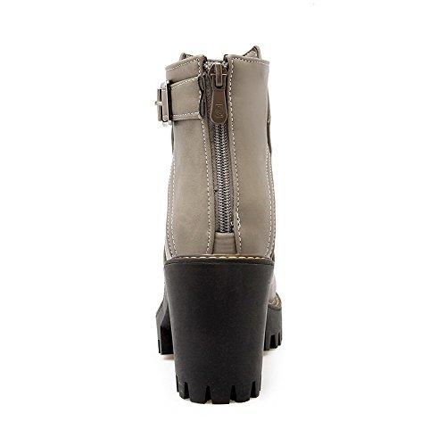 AmoonyFashion Womens PU Low-Top Solid Zipper High-Heels Boots Gray EDYfVL9c7D