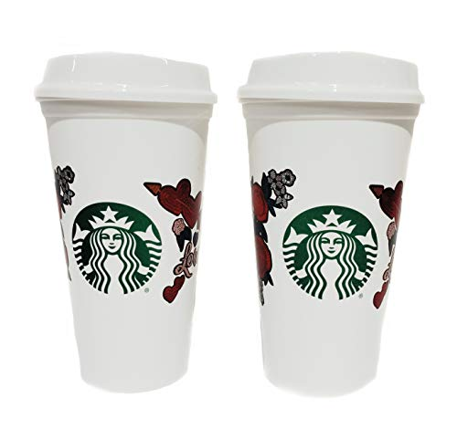 (STARBUCKS Love Heart Rose Reusable Cups Valentine's Day 2019 Grande 16oz Coffee Cups (2pcs))