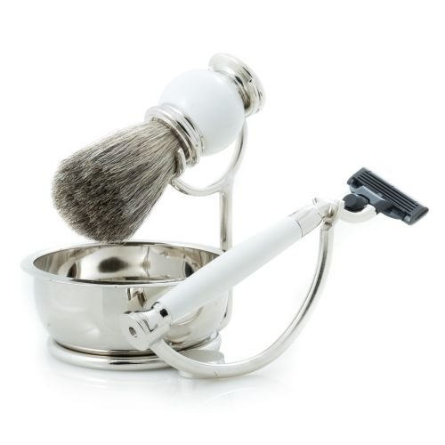 Four Piece Shaving Shave Set includes Mach 3 Compatible Razor with Badger Brush and Soap Dish Bowl on Chrome Stand and White Enamel Finish